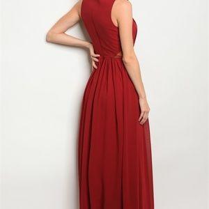 21fc4348907 Dresses - Blair Burgundy Jeweled Maxi Gown